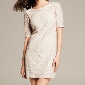 Banana Republic Knit Lace 3/4 Sleeve Dress